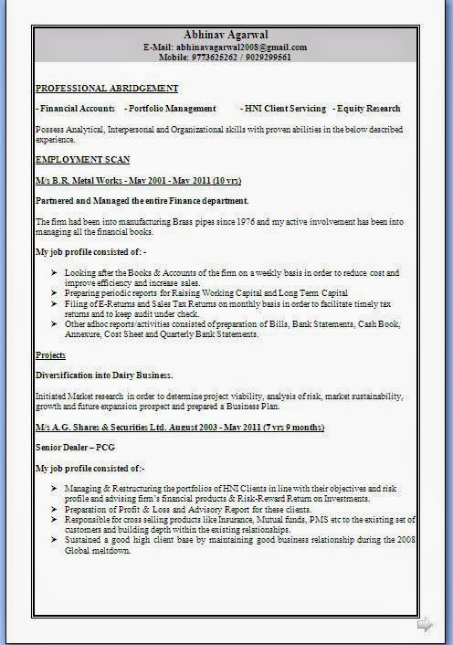 Spanish Resume Template  Resume Format Download Pdf