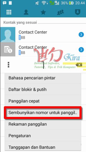 Wd-Kira, Setting panggilan rahasia Asus Zenfone 5 2015