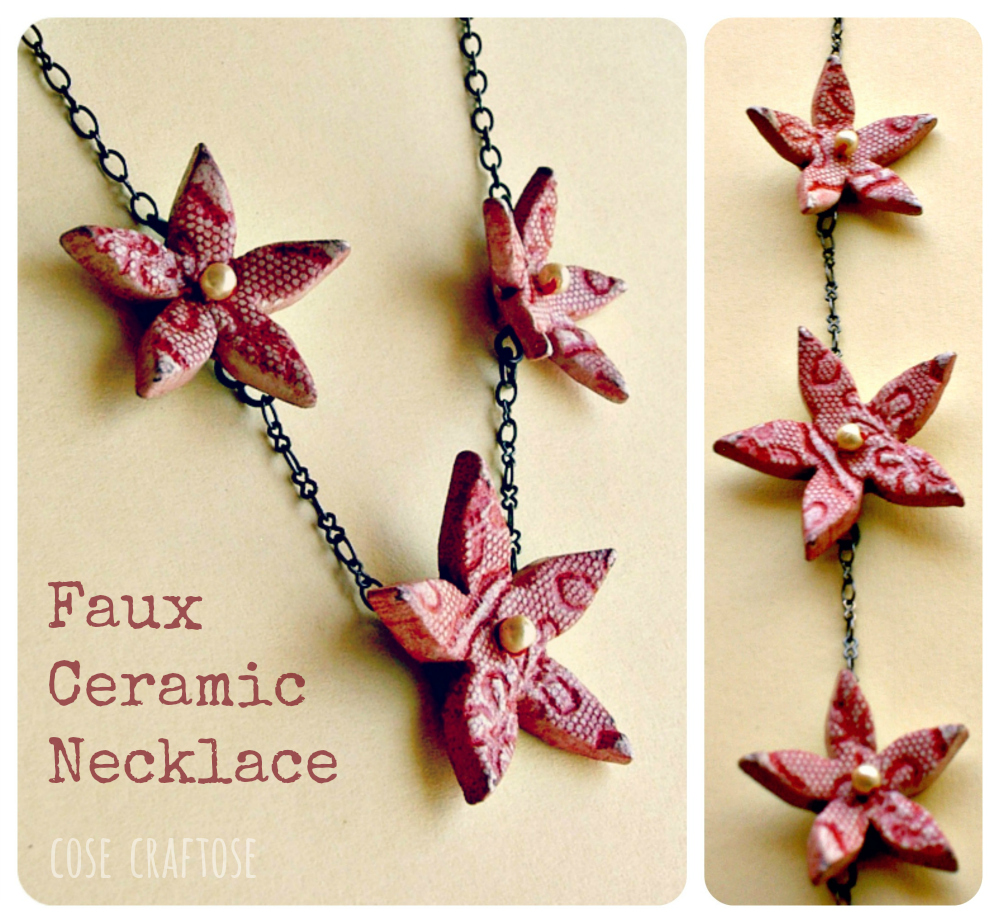 faux ceramic lace necklace
