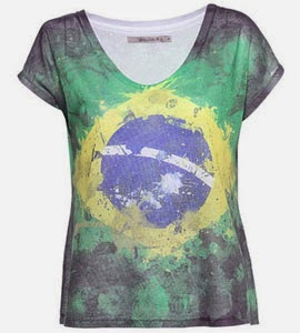 camiseta feminina bandeira Brasil Moda Copa do Mundo Shoulder