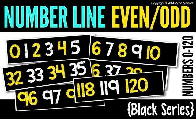 Number Line Even/Odd 0-120 Black Series