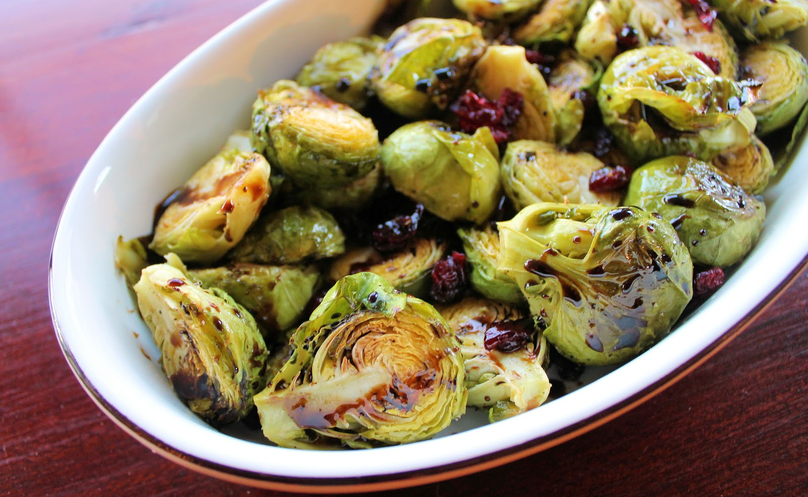 roasted Brussels sprouts that I'm jazzing up with dry cranberries ...