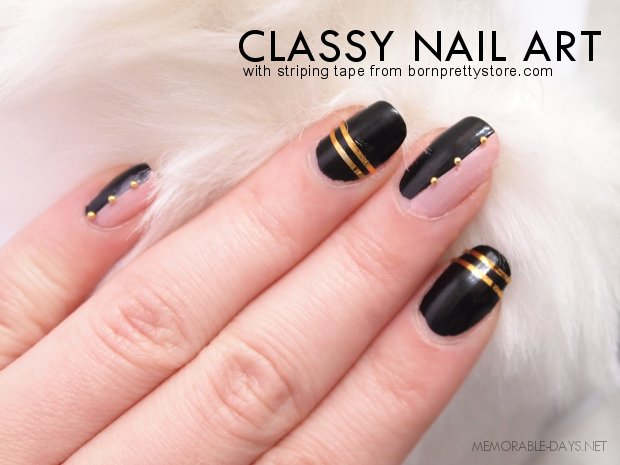 about the striping tape and a tutorial of the classy nail art below ;)