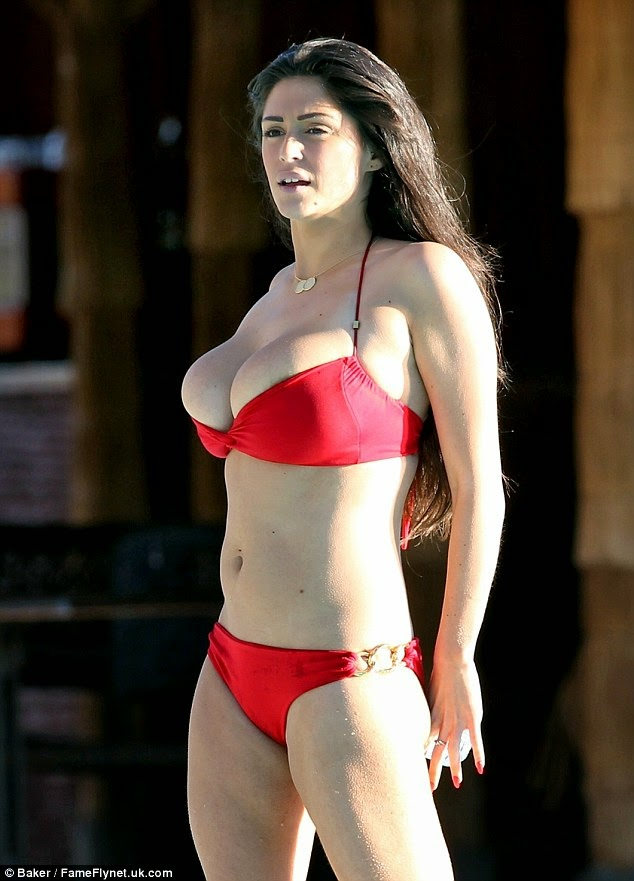 Busty celebrity Casey Batchelor sexy red bikini