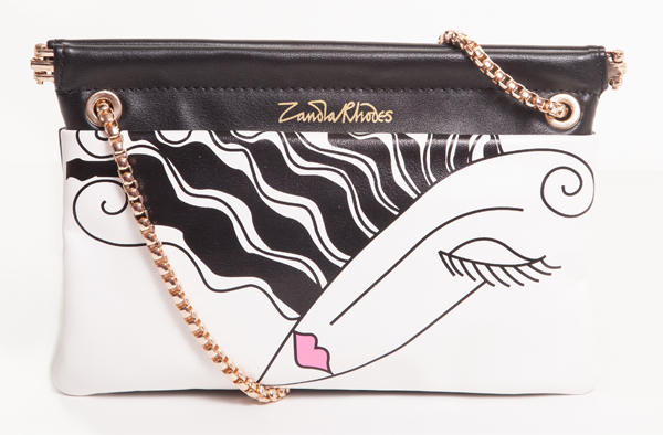 printed bags, printed clutches, zandra rodges bags, zabdra rodhes, black and white bags, painted bags,