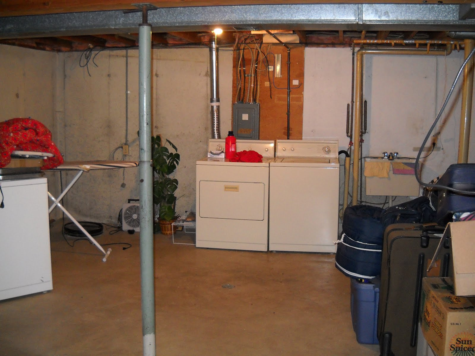 Snowbound In Iowa My Home In Lake Geneva - Unfinished basement laundry room ideas
