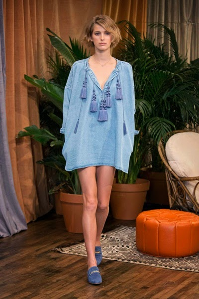 H&M 2014 Spring Collection Twill Tunic Denim Tassel Dress