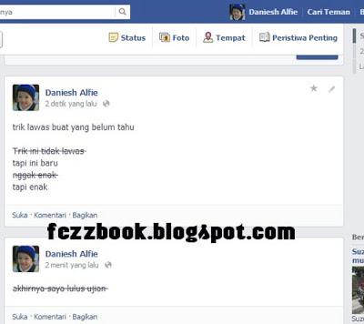 Cara Update Status Facebook dengan Garis di tengah-tengah huruf