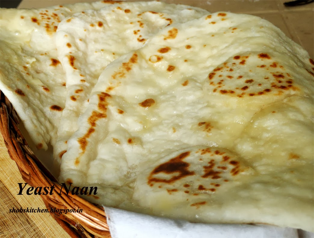 NAAN Bread with Yeast - ShobsKitchen