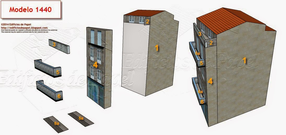 Modelo 1440 Edificio Centro Burgas - Construye tu maqueta de papel