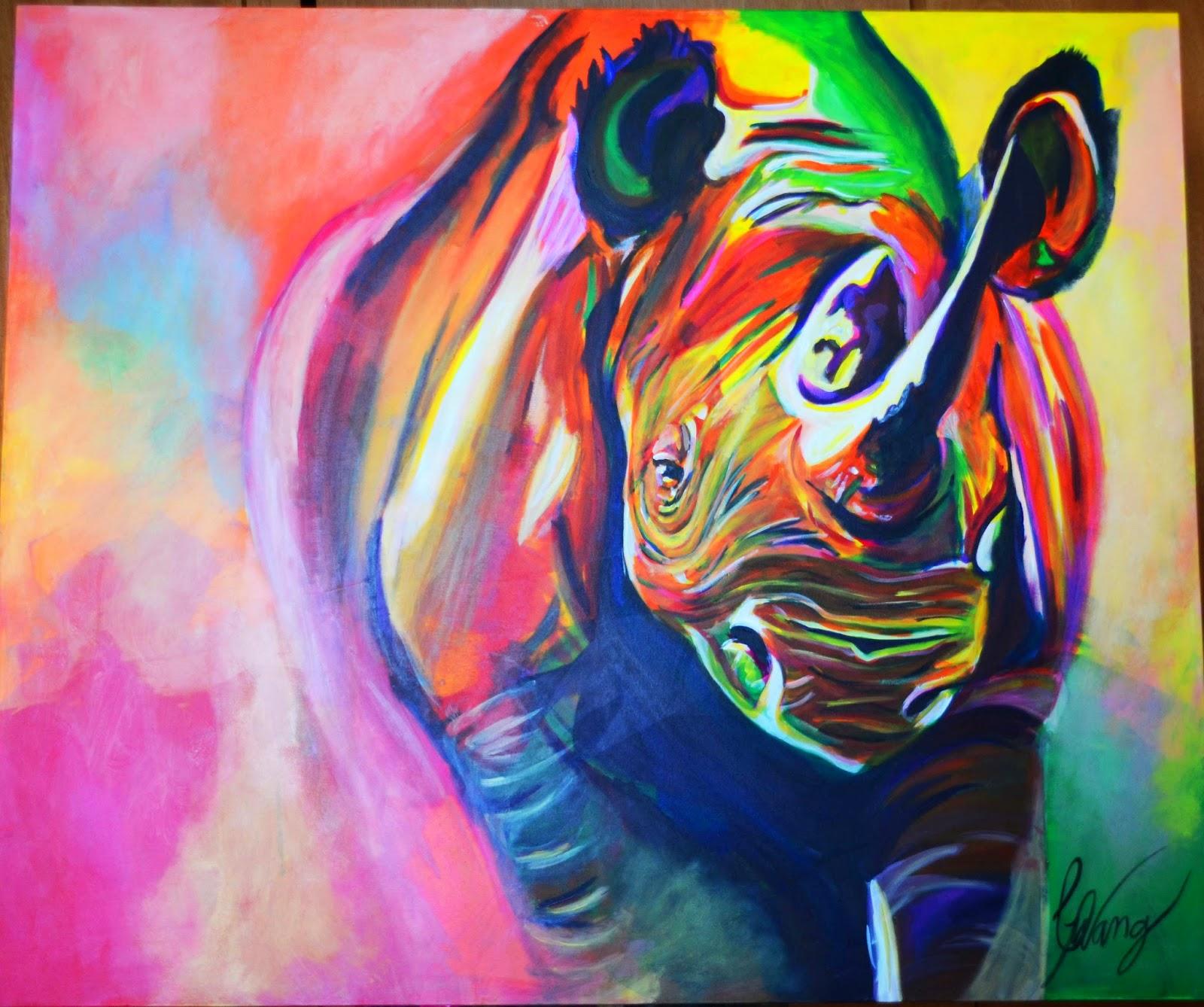 Carolina wang arte rinoceronte pintura acrilica sobre tela for Pintura acrilica moderna