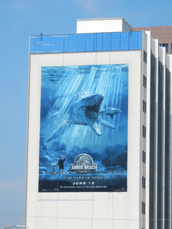 Giant Jurassic World shark billboard