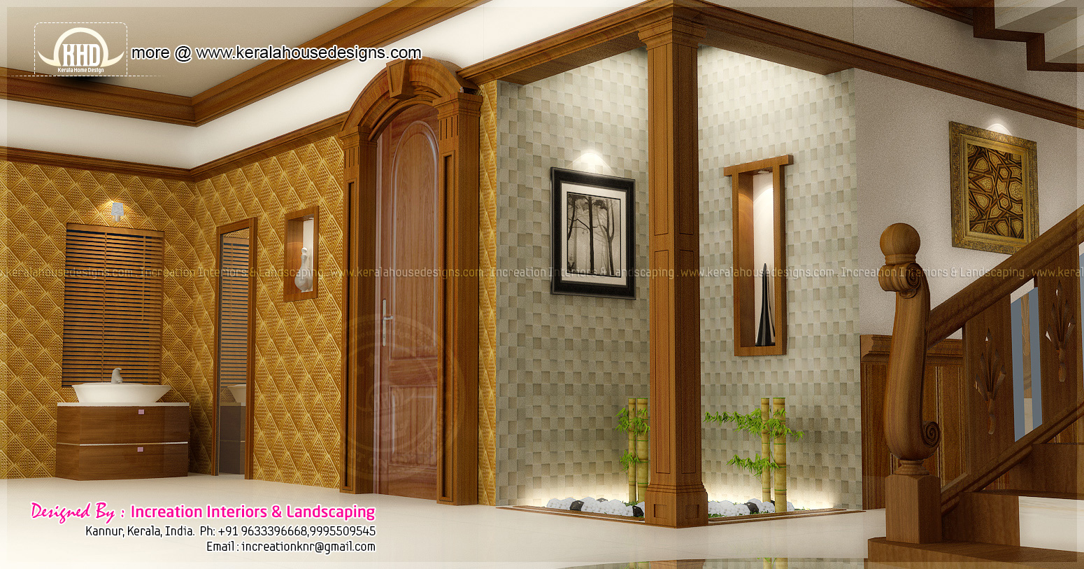 House interior ideas in 3d rendering home kerala plans for Foyer area interior