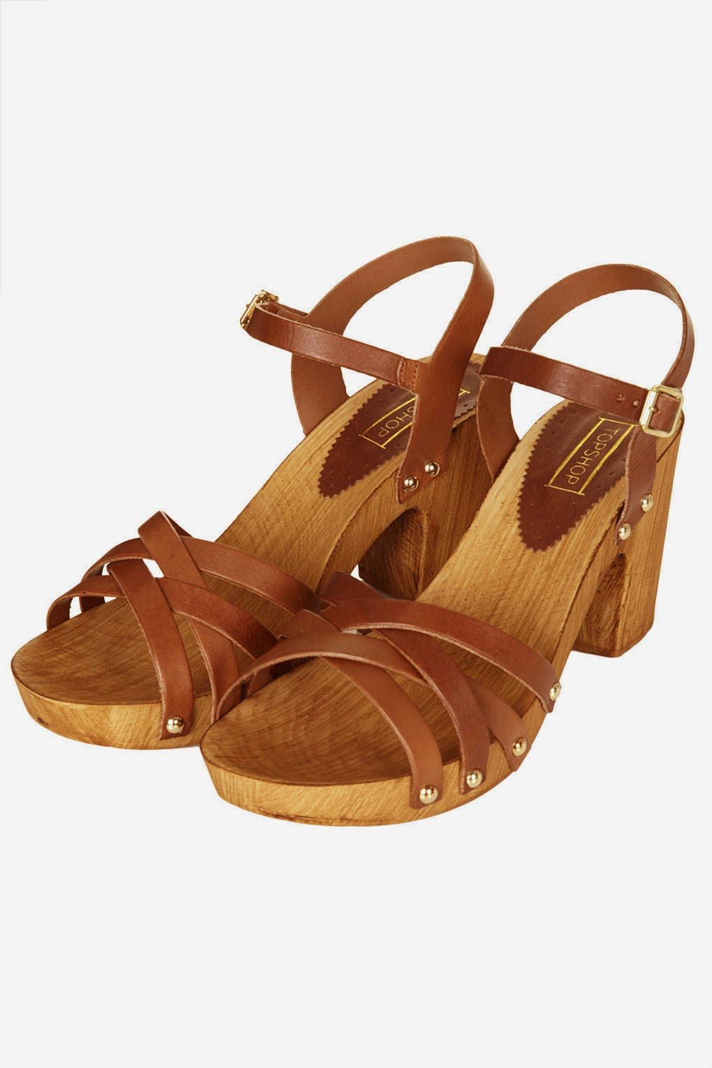 tan leather wooden sandals