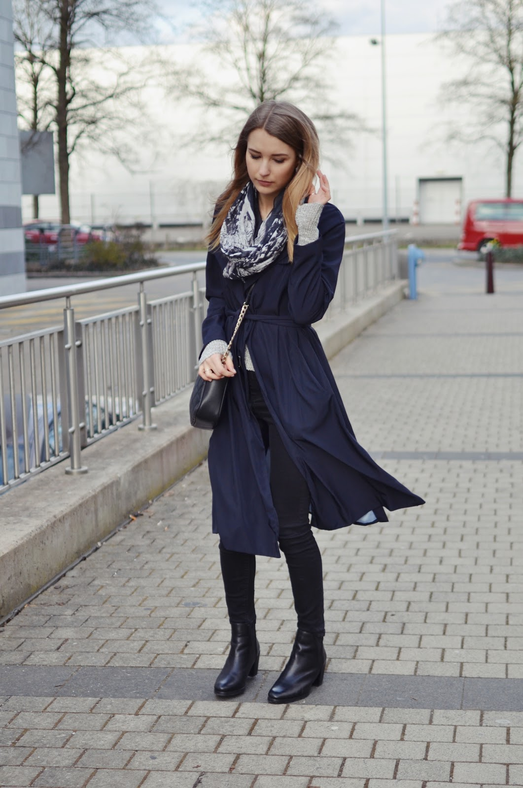 Zara blue mac trench coat