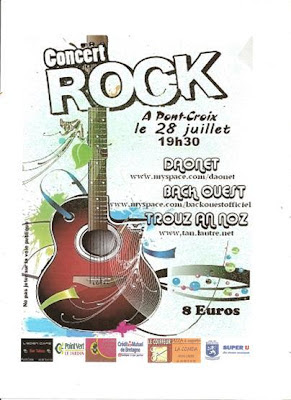 Affiche du concert de rock celtique à Pont-Croix dans le Finistère