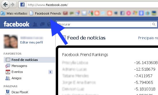 ranking de amigos facebook
