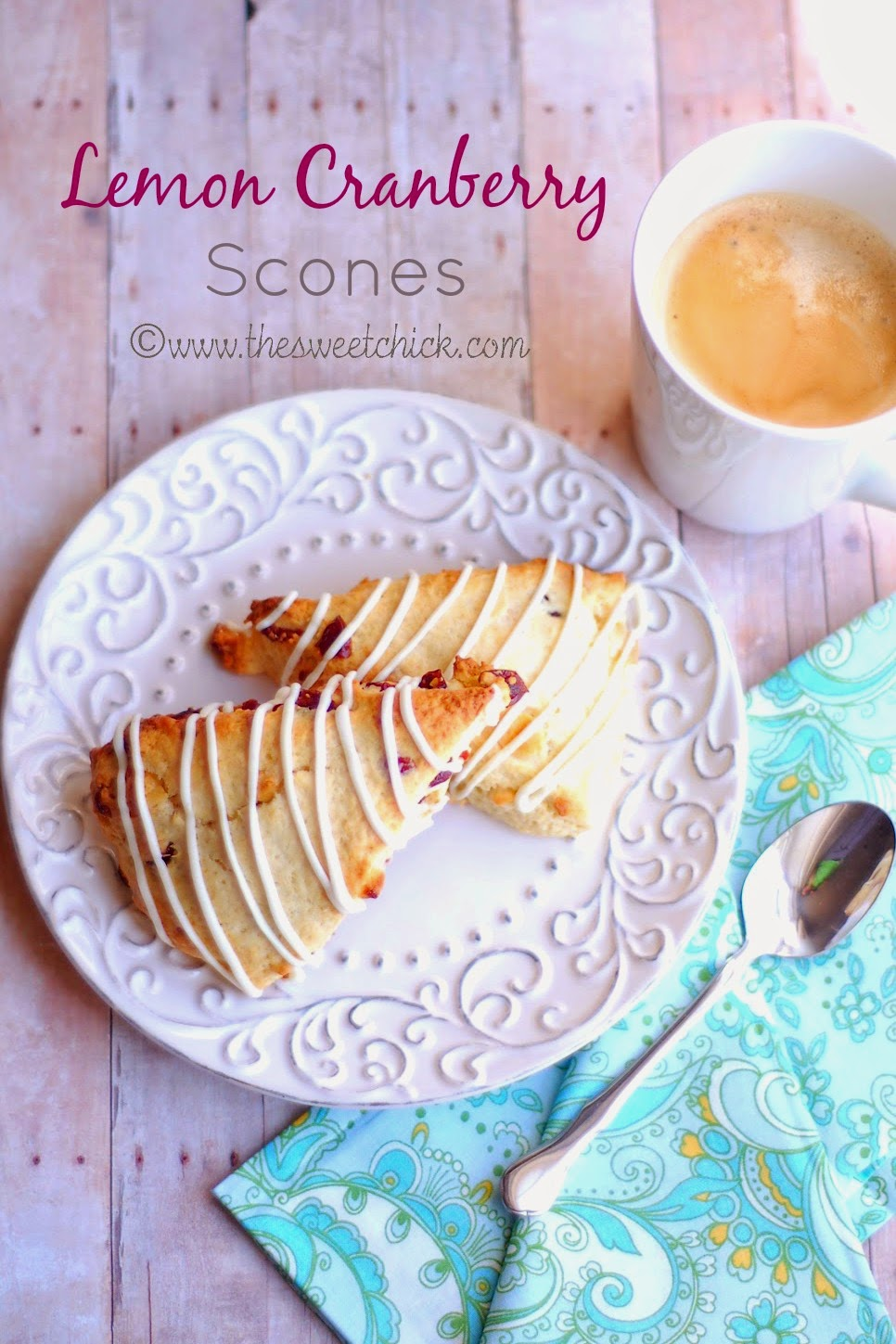 Lemon Cranberry Scones by The Sweet Chick