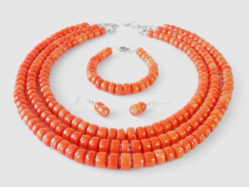 korale góralskie, naszyjnik z korala, biżuteria z korala, korale ludowe ekokoral