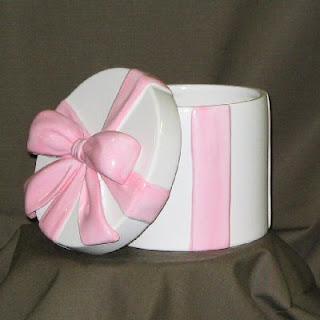 Ceramic Hat Box Floral Container