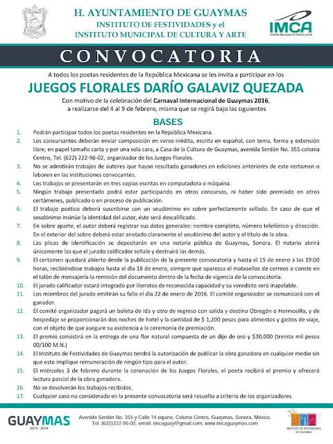 convocatoria juegos florales carnaval guaymas 2016