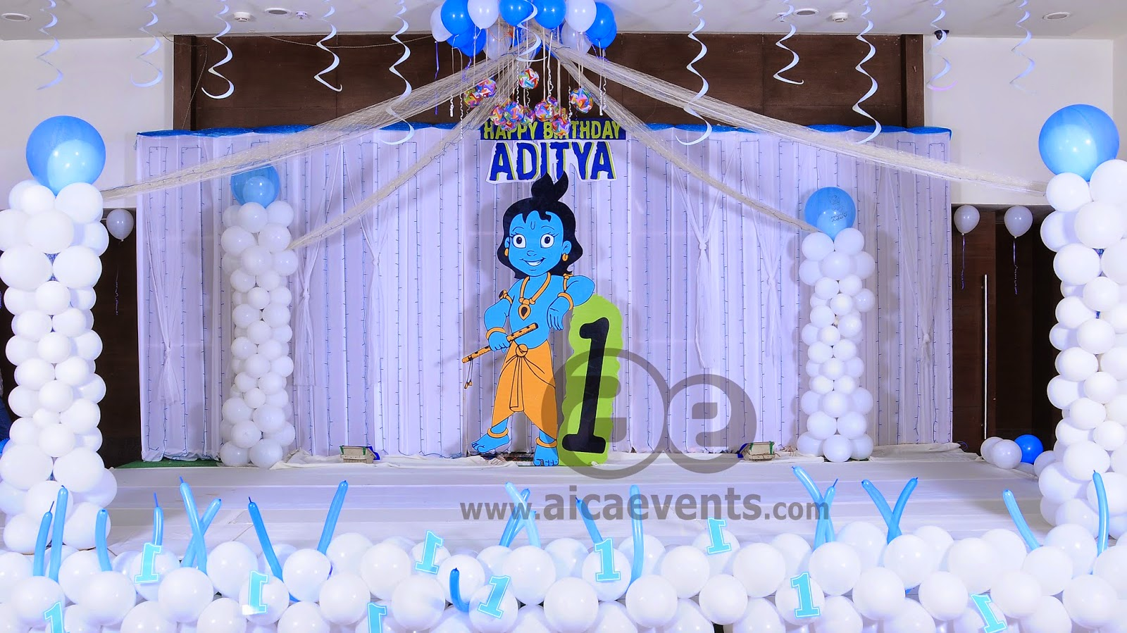 Aicaevents krishna theme birthday party decorations for Balloon decoration for stage