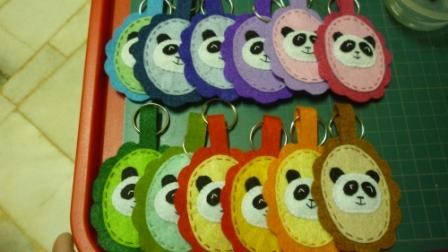 Felt panda keychain multi color