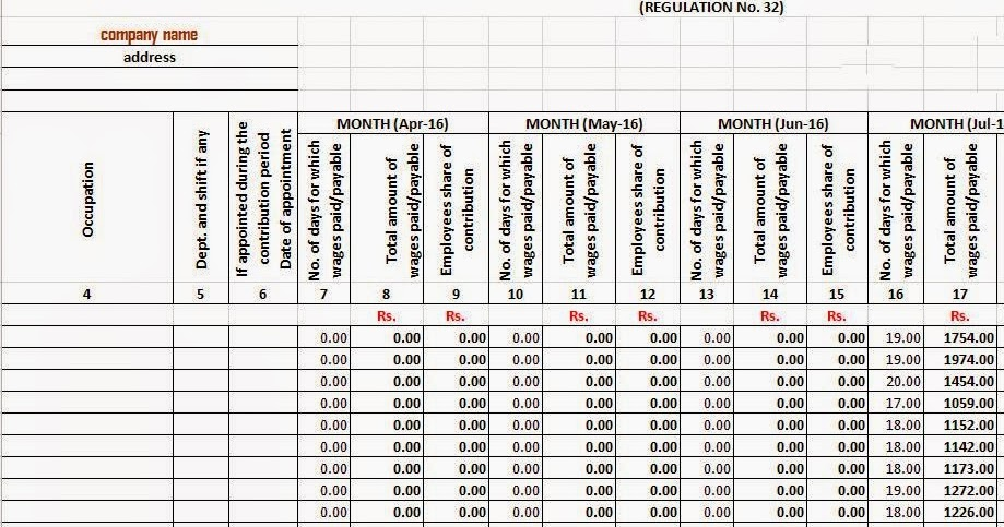 esic form 6 in excel format