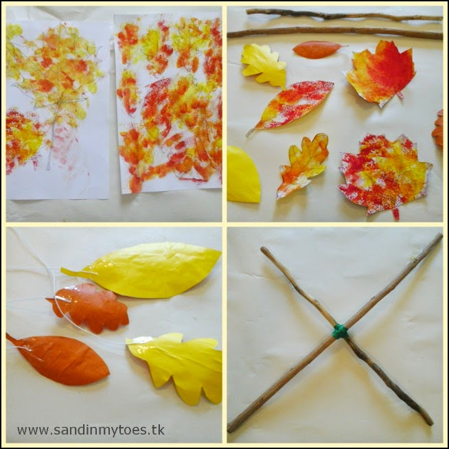 Making an autumn print leaf mobile