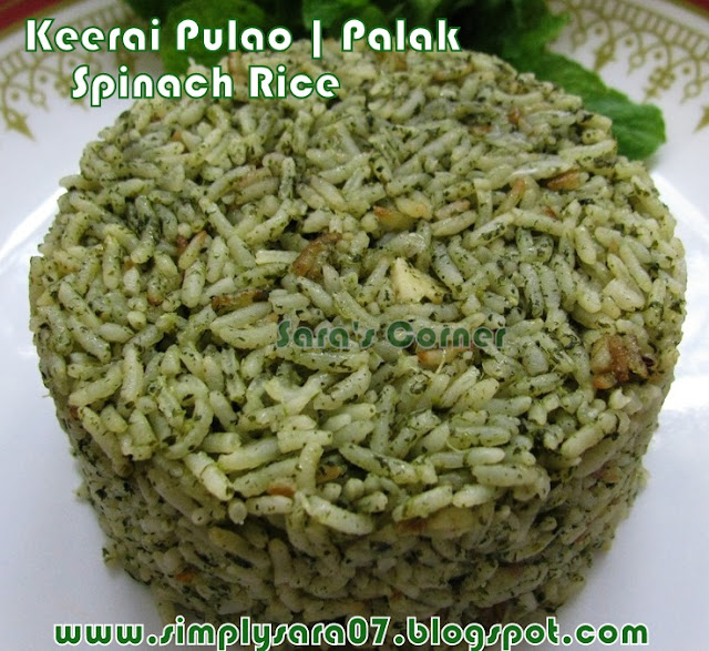 Keerai | Palak | Spinach Pulao and Tomato Raitha Type 1!!!