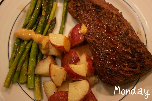 Monday: Sirloin Steak with Roasted Potatoes and Asparagus