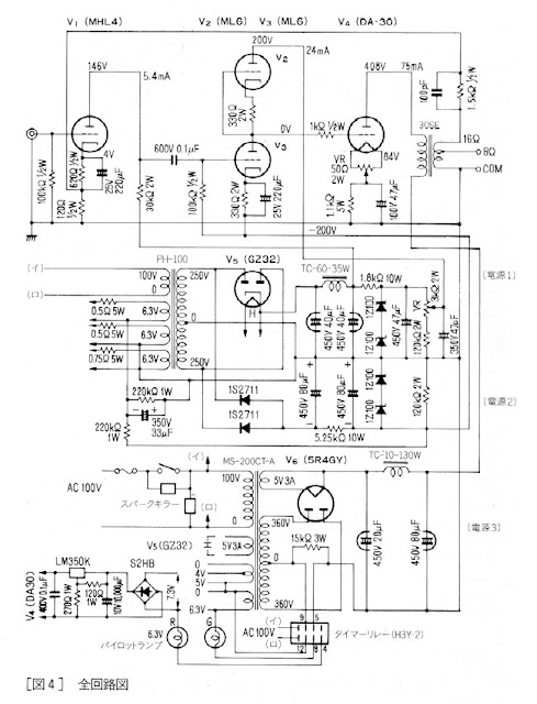 vacuum tube schematics  se da30  mhl4  ml6  ml6  amplifier