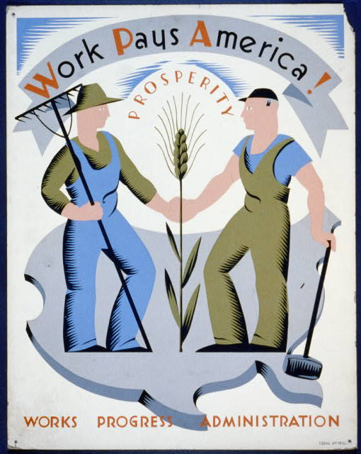 vintage, vintage posters, art, wpa, free download, united states, retro prints, Work Pays America! Vintage Poster - Works Progress Administration