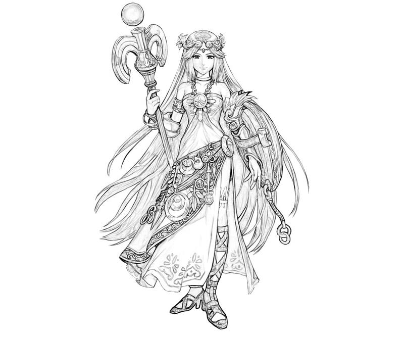 Printable Kid Icarus Palutena Character Coloring Pages