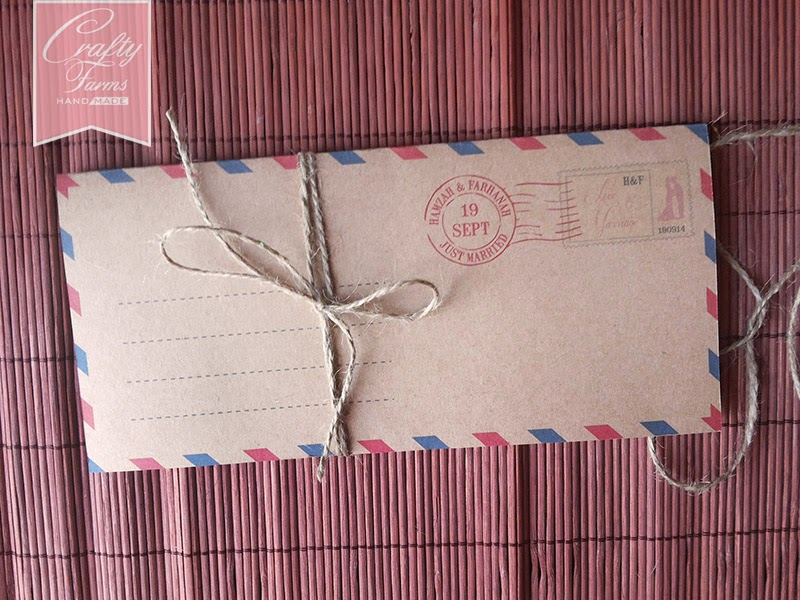 Airmail Theme OneFold Wedding Card with Brown String