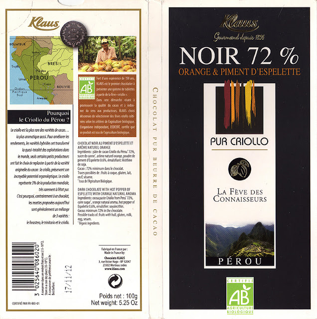 tablette de chocolat noir gourmand klaus noir orange et piment d'espelette 72
