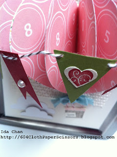 Paper hot air balloon 3D project by Ida Chan, Stampin Up! Vancouver