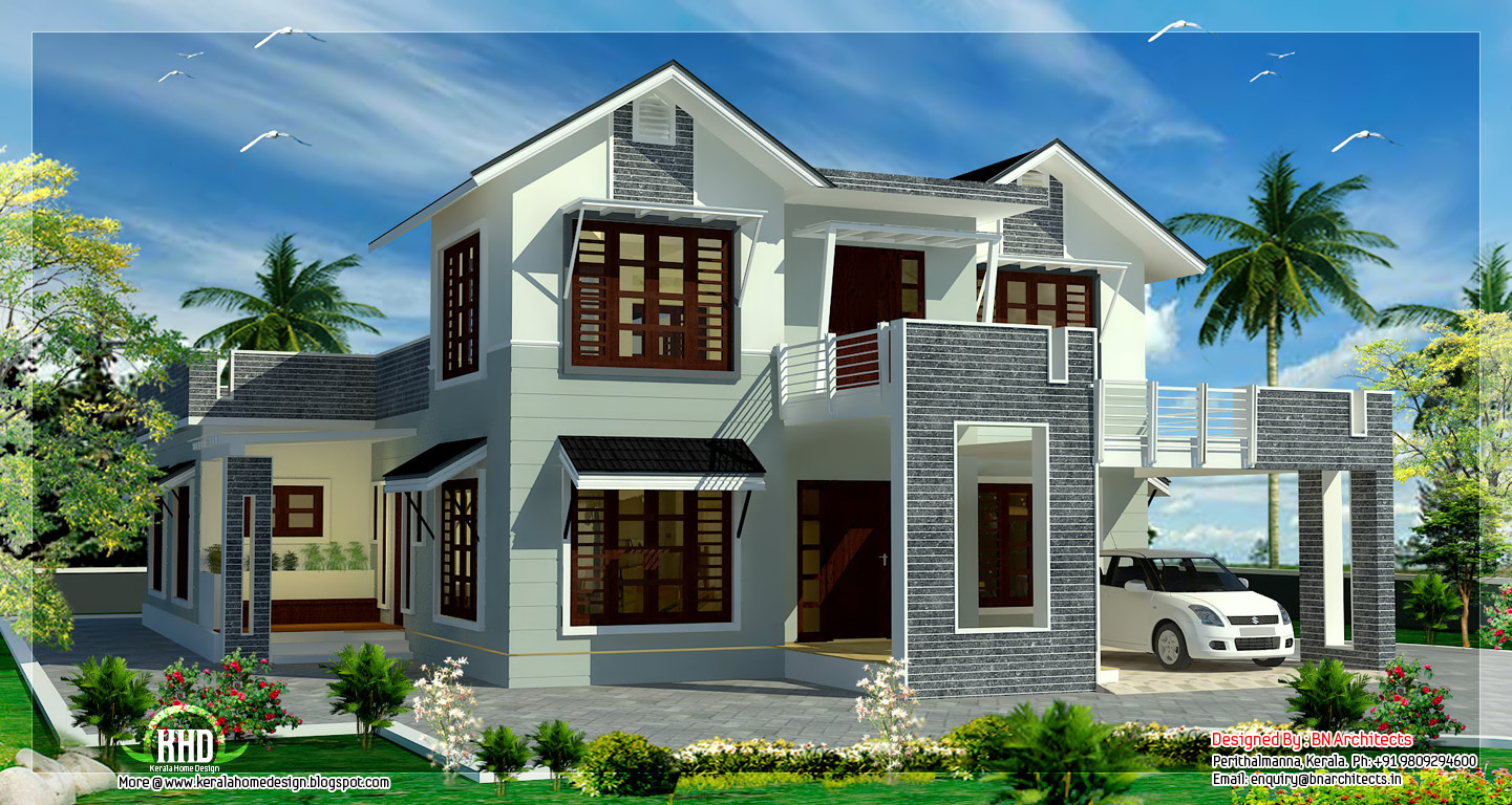 2800 Square Feet Sloping Roof 4 Bedroom House Kerala Homes