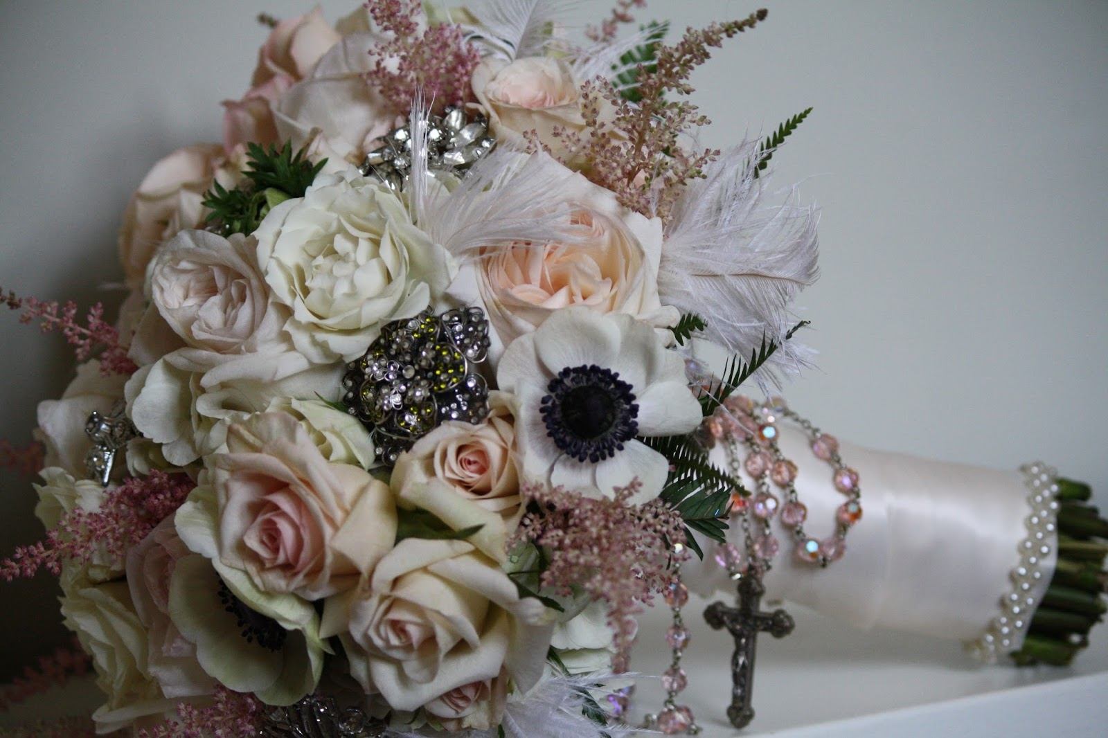 Brooch Bouquet - The bouquet is adorned with vintage brooches - Patience Garden Rose, Rose Bridal Bouquet, Rose Bouquet, Wedding Bouquet - Splendid Stems Wedding Flowers - Wedding Florist