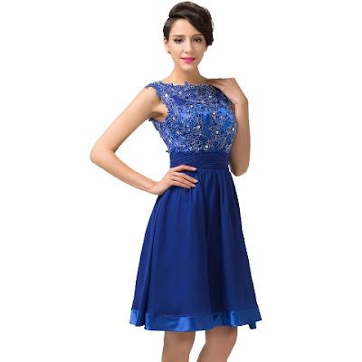 Contoh Model Gaun Bunga Pesta Pendek Biru Cantik