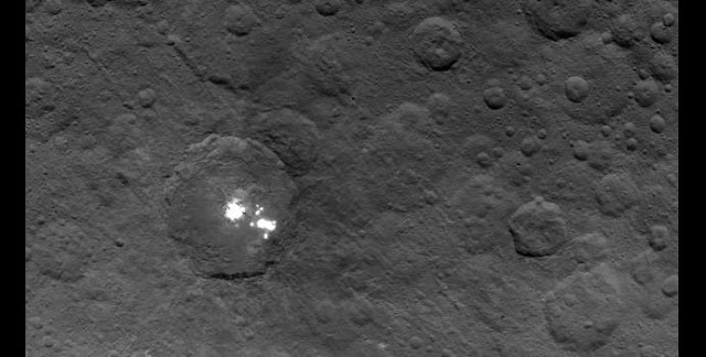 The brightest spots on dwarf planet Ceres are seen in this image taken by NASA's Dawn spacecraft on June 6, 2015. Credits: NASA/JPL-Caltech/UCLA/MPS/DLR/IDA