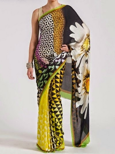 Multicolored Printed Chiffon Saree Collection