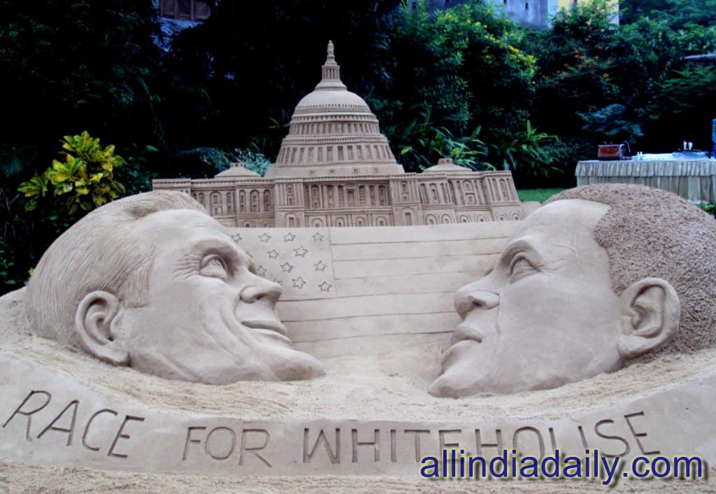 Creation of the U.S. presidential elections, during a 15-day exhibition entitled 'Imagination in Sand' in Birla Academy of Art Culture at Kolkata