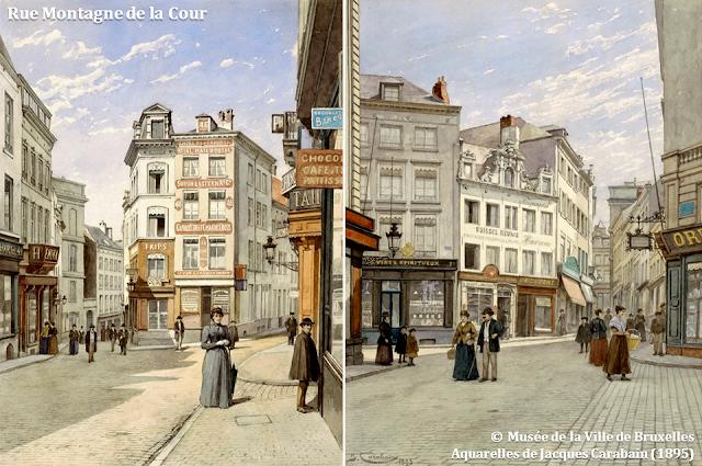 Mont des Arts - Bruxelles disparu - Rue Montagne de la Cour - Rue des Trois Têtes - Bruxelles-Bruxellons