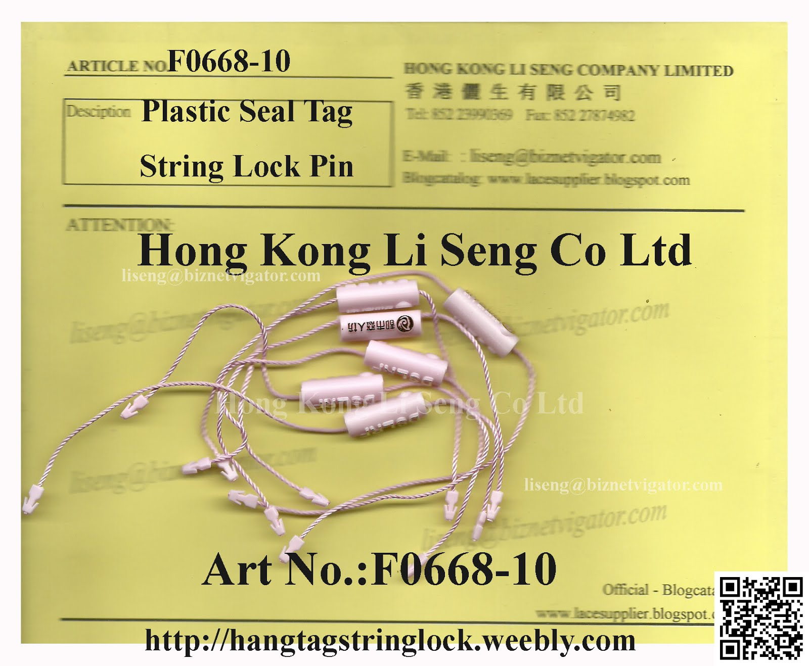 Plastic Seal Tag String Cord Lock Pin Factory
