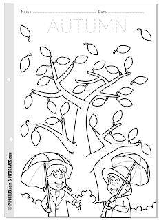 Worksheet about autumn for kids from Pipo's blog coloring