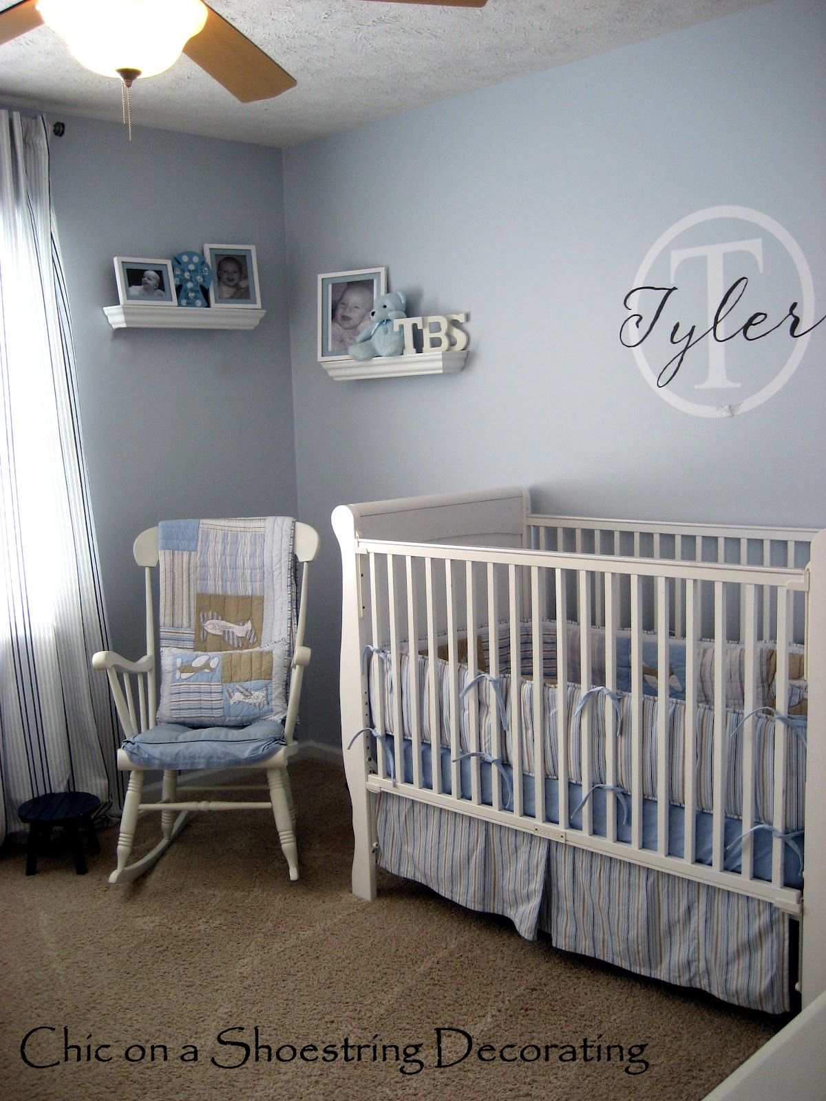 chic on a shoestring decorating my boy 39 s nursery tour. Black Bedroom Furniture Sets. Home Design Ideas