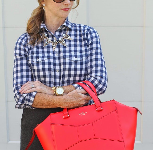 jcrew plaid shirt, kate spade beau bag, baublebar necklace