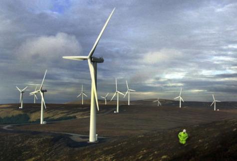 wind turbines on moorland