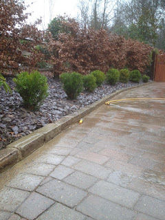purple slate chippings, border, landscaping